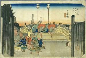Hiroshige_le_pont_Nihonbashi_à_l'aube