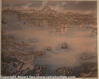 Old Nagasaki with Dejima to the south.
